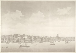 '2nd view of the city of Benares'.  Aquatint, drawn and engraved by James Moffat, published Calcutta 1804.